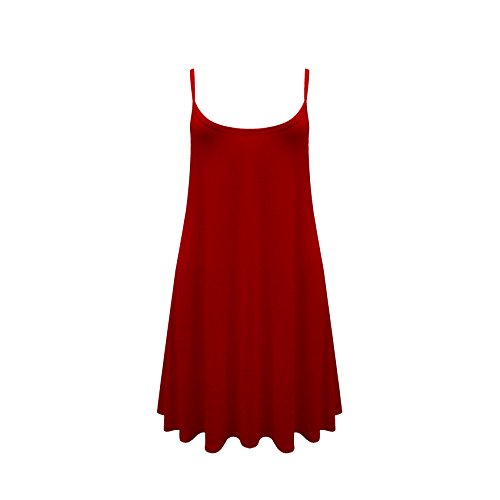 Damen Ärmellos Cami Swing Kleid Fließendes Flared Riemchen Skater Langes Top 8-26 Viele Farben Verfügbar Rot