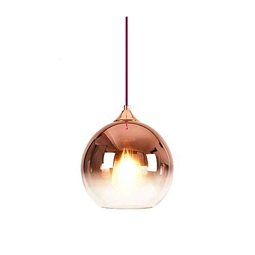 Wings of wind - Glas Anhänger Beleuchtung Farbverlauf Lampenschirm, Bunte Glaskugel Licht Schatten E27 Pendelleuchte (Roségold) -