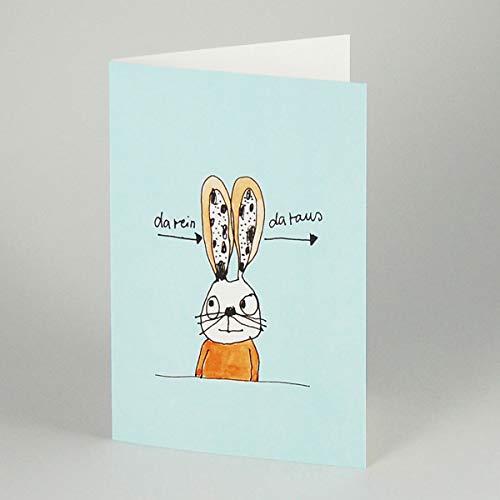 da rein - da raus - witzige Cartoonkarte gezeichnet von Karin Clauß: Hase mit langen Ohren, Klappkarte mit Umschlag (weiß, gefüttert)