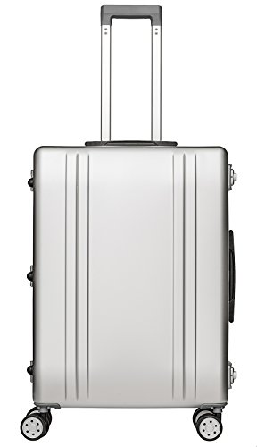 Packenger Alu Reisekoffer mit 68 Liter Fassungsvermögen in der Farbe Silber, 61x46x25cm, Zwei TSA Schlösser