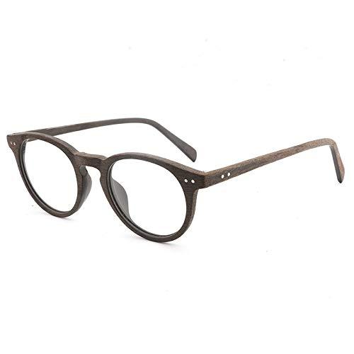 New Handmade Platte Holzmaserung Retro-Rahmen Myopie Brille großes Gesicht Brillengestell Männer und Frauen flachen Spiegel Brille (Color : Coffee Box Coffee Legs)