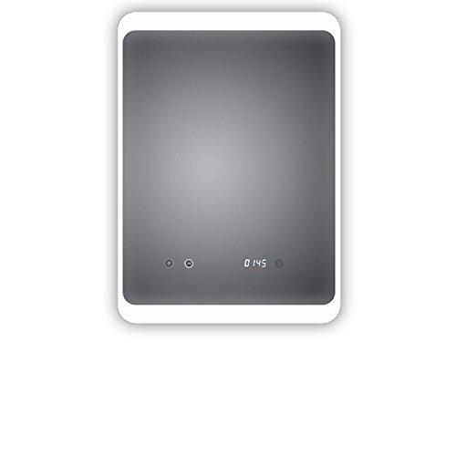 HOKO® LED Bad Spiegel beleuchtet mit Digital Uhr und ANTIBESCHLAG SPIEGELHEIZUNG und digitaler Uhr, Köln 50x70cm, Licht seitlich, Oben und unten. Energieklasse A+ (WEEE-Reg. Nr.: DE 40647673)
