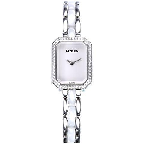 binlun de las mujeres pequeño Tiny rectangular Dial pulsera de cerámica pulsera watch-white