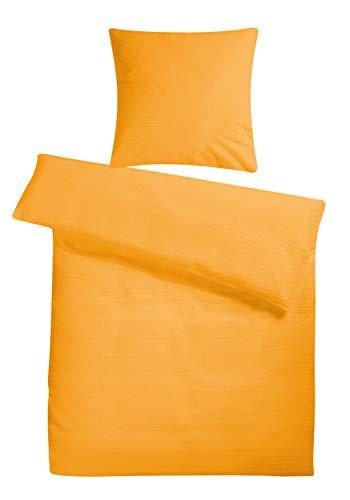 Carpe Sonno Seersucker Bettwäsche Set Orange Gelb Uni 135 x 200 cm - Bett-Bezüge leicht, kühl & weich aus 100% gekämmter Baumwolle - Kochfest einfarbige bügelfreie Sommer Bettwaren-Garnitur