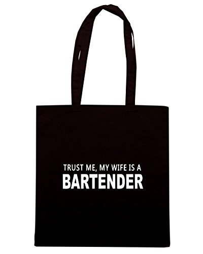 T-Shirtshock - Borsa Shopping BEER0296 Trust Me, My Wife Is A Bartender Nero