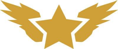 Logo militare stella con ali adesivo prespaziato senza fondo in vinile colore oro matt, 10 centimetri. personalizza auto, moto, caschi, camion, furgoni, fuoristrada e 4x4, car wrapping e tuning, barche, valige, vetri, mobili e qualsiasi altra superficie liscia.