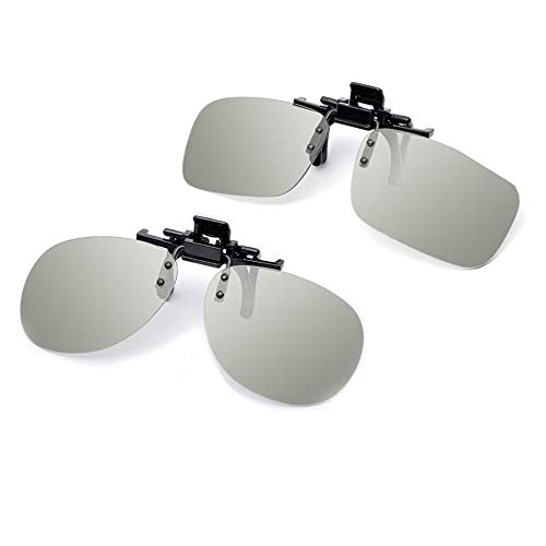 ShipeeKin 2X Passive 3D Brillen Clips, 3D Brillen für Brillenträger kompatible mit Allen RealD 3D Kinos (eine zirkulare 3D-Polarisationsbrille und eine quadratische 3D-Polarisationsbrille inklusiv)