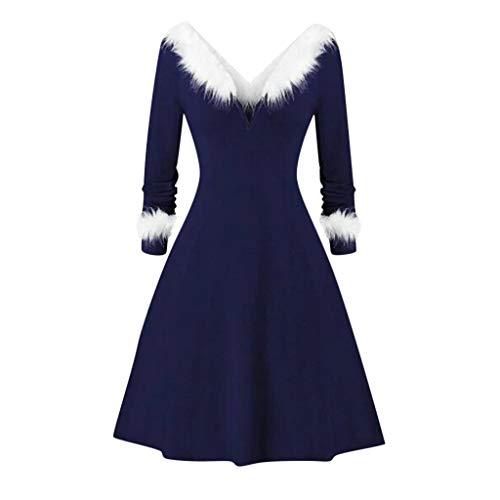 Damen Vintage 50er V-Ausschnitt Abendkleid Rockabilly Retro Kleider Cocktailkleid Piebo Frauen Herbst Winter Weihnachten Casual Langarm Mini Kleid Sweatshirt Kleider Pelzkragen Dress Party Kostüm -