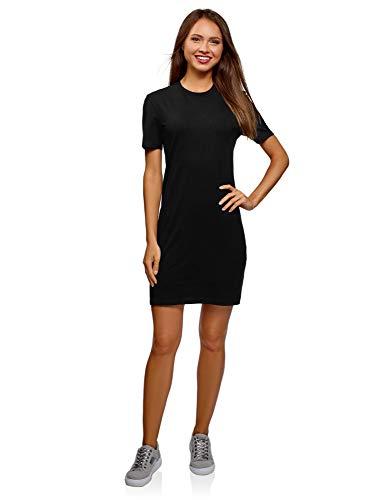 oodji Ultra Damen Gerades Kleid Basic, Schwarz, DE 36 / EU 38 / S
