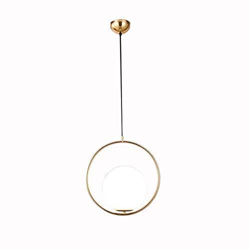 Moderne Ring Pendelleuchte + Seed Glass Orb für Schlafzimmer (Gold) -