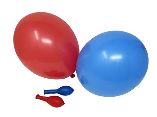 50 Luftballons je 25 rot & blau Qualitätsballons 27 cm Ø (Standardgröße B85)