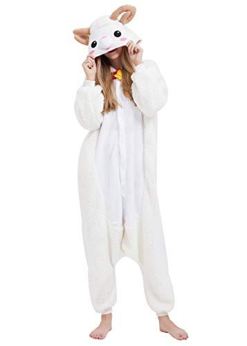 Jumpsuit Onesie Tier Karton Fasching Halloween Kostüm Sleepsuit Cosplay Overall Pyjama Schlafanzug Erwachsene Unisex Lounge Kigurumi Schaf for Höhe 140-187CM