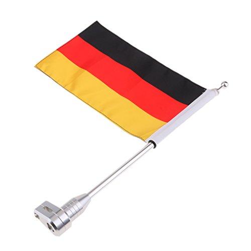 non-brand gazechimp Motorrad Flagge Gepäckträger Flag mit Fahnenmast, Deutschland Fahne Muster - Motorrad Fahne Honda