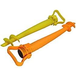 Cao Lot de 2 Pieds de Parasol Orange/Jaune 44 cm