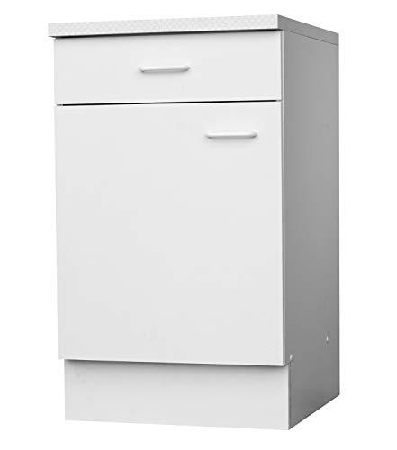 Unterschrank Küchenschrank | Weiß | 1 Schublade | 1 Tür