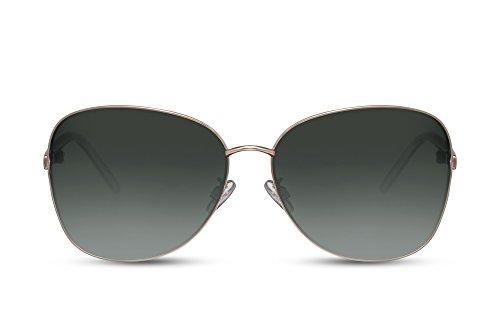 Cheapass Sonnenbrille Schmetterling Gold Grün-e Getönt-e Linsen UV-400 XXL Designer-Brille Fashion Metall Frauen Damen