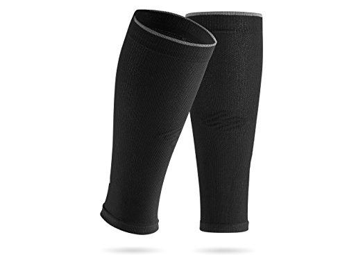 SPORTHACKS Sleeves - Schienbeinschonerhalter & Stutzenhalter mit Kompressionseffekt (schwarz basic, III | Wadenumfang 32-38cm)