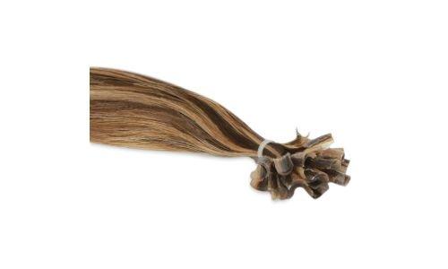 Extensions Cheveux Kératine 25 mèches indiennes 0,8gr Méché Châtain et Blond Vénitien 50cm