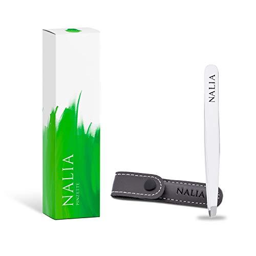 NALIA® Profi Pinzette mit Reiseetui - Einfach schonendere Haarentfernung! - Optimal für Augenbrauen Zupfen und Wimpernverlängerung - Augenbrauenpinzette