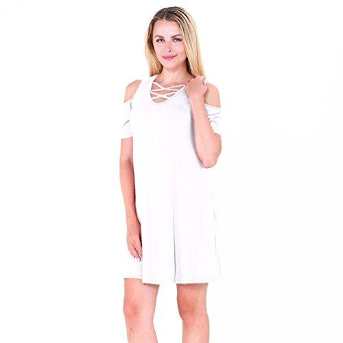 NiSeng Donna V Collo Abito Corto Mini Vestiti Camicia Manica Corta Allentata Con Tasca Mini Vestito Bianco