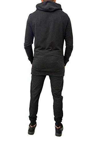 Tuta sportiva da uomo, in cotone, aderente, composta da pantaloni e felpa con cappuccio Black Longline