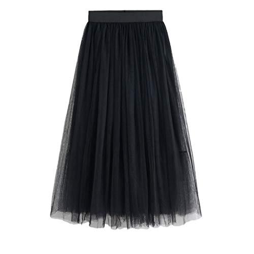 HHyyq Women's Midi Skirt Ballet Skirt Tulle Pleated Skirt Knee-Length Pleated Skirt A-Line Tutu Skirts(Schwarz,M) (Maxi Tiered Lace Skirt)