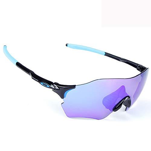 HLSE Radsportbrille Sport Sonnenbrillen Schutz Radsportbrille mit 3 auswechselbaren Gläsern Polarized UV400 für Outdoor Radsport Baseball Angeln Skilaufen Golf (blau)