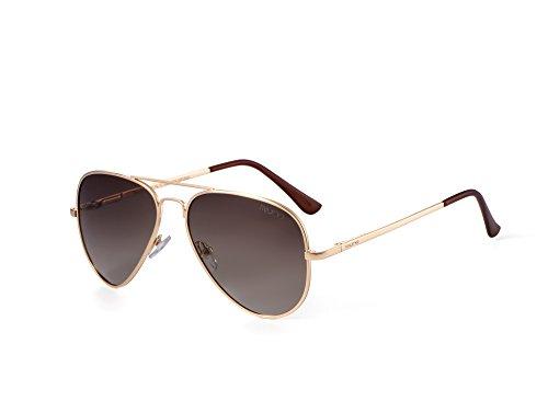 Miuno® Sonnenbrille Polarisiert Polarized Herren Damen Geschenkbox & Brillentuch Aviator Federscharnier 3025 Goldgestell (Kaffeebraun)