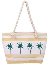 Bwiv Beach Bag Bolsa de Playa con Cremallera de Lienzo con Cuerda de Cáñamo Impermeable Gran