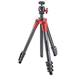 Manfrotto Compact Light Kit de Trépied + Rotule Ball 4 sections Rouge