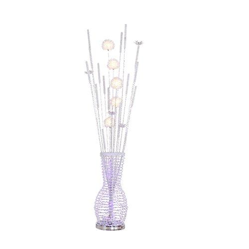 Glas 3-licht-arc (Stilvolle Persönlichkeit Vase Drei-Farben-Licht vertikale Stehleuchte, moderne minimalistische Schlafzimmer Wohnzimmer Nachttisch LED Auge Metall Geflecht Stehlampe Metall Tal weben Stehlampe (Silber))