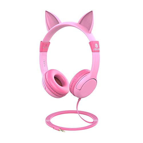 Kinder Kopfhörer, iClever Kopfhörer für Kinder mit Lautstärke Begrenzung, Mädchen Kinder Kopfhörer, Kopfhörer für die Oberfläche iPod iPhone iPad Mini iPad Air Tablets PC MP3, pink Kopfhörer Geschenk