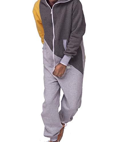 Rocking Socks Onesie Jumpsuit Overall für Damen und Herren - trendig mit Streifen, farbig als Freizeitanzug, Hausanzug, Einteiler Strampler Trainingsanzug Pyjama Luxus Design (M/L)