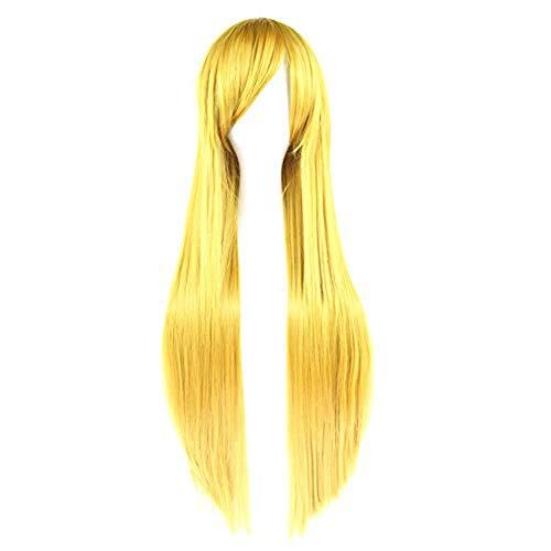 Haodou Damen Perücke Wig Frauen Langes glattes Haar synthetische Haarteil Haar für Karneval oder Cosplay Party Fasching Kostüm Länge 80cm (Gelb) - Länge Synthetische Perücke