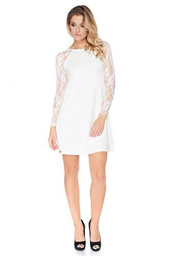 Futuro Fashion Damen Abend Langärmlig Mini Schiftkleid Smart & Elegant Viskose FA454 Größen 8-18 UK Naturfarben