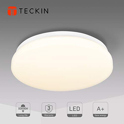 Ceiling Light,LED Ceiling Lights,TECKIN Indoor Flush Mount Ceiling Lamp, 4500K Natural White Ø 12.20in, 24W Round Ceiling Lights Fitting for Bedroom Kitchen Hallway Office Stairwell Dining Room