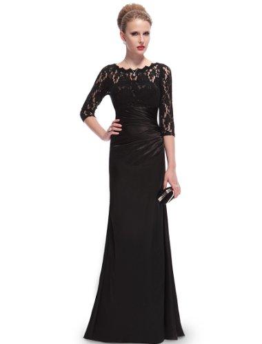 Ever Pretty Damen Elegant 3/4 Arm Lace Lange Abendkleider 44 Schwarz EP09882BK12
