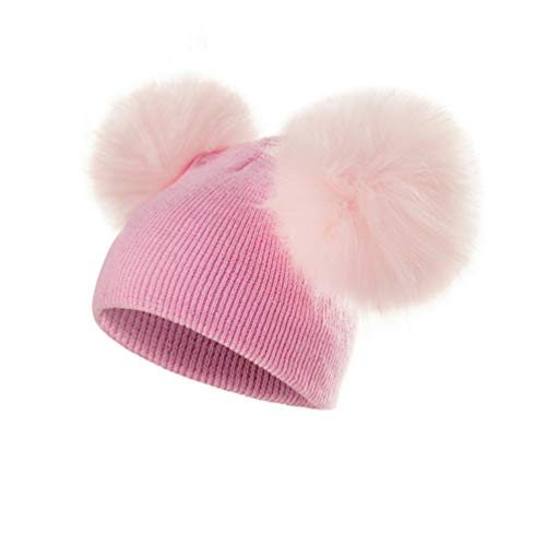 Qianliuk Kinder hat Warm Wool Hat Knit Beanie Fur Pom Pom Girls Cap -