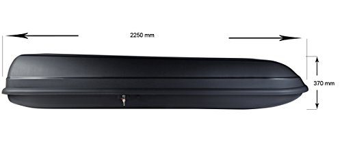BB-EP Dachbox - 500 Liter - 225x78x37 cm in schwarz - inkl. Montagematerial - TÜV/GS