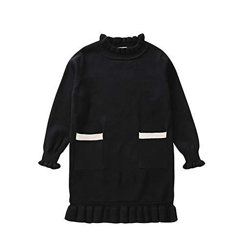 Yazidan Kleinkind-Säuglingsbaby-Mädchen Einfarbig Taschen-Lange Ärmel Pullover Sweatshirt Strickjacke-Bluse -