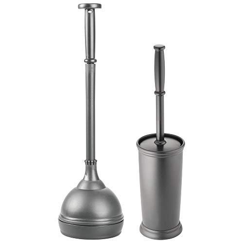 mDesign Juego de 2 accesorios de baño - Moderno set de baño con escobilla de váter y desatascador - Compacto juego de escobilla para baño y desatascador de inodoro de plástico - gris antracita