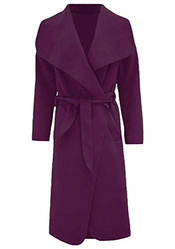 Islander Fashions Womens Trench Waterfall italienischen Duster Mantel Damen Franz�sisch Belted Long Jacke lila 2 X gro� -