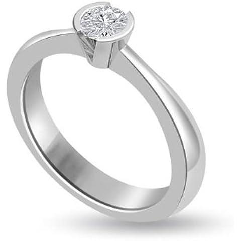 0.25ct G/SI1 Solitario Diamante Fidanzamento Anello da Donna con Rotonda Brillante diamante in 18kt Oro (0.25 Ct Anello Di Fidanzamento Anello Di Fidanzamento)