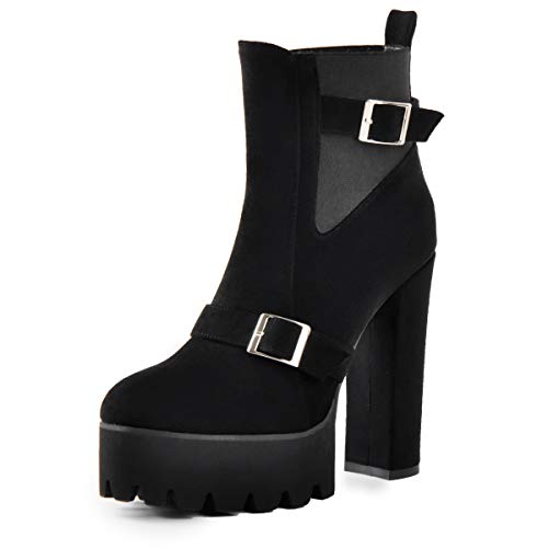 Onlymaker Frauen Bequeme elastische Plattform Stiefel runde Zehe Chunky High Heel ziehen auf Knöchel Booties schwarz Wildleder Stiefel für EU37 -