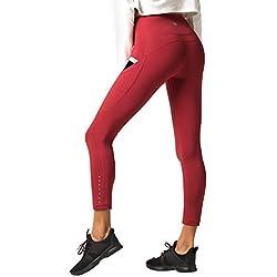 LAPASA Pantalón Deportivo de Mujer con Bolsillo Ergonómico Lateral. (Malla para Running, Yoga y Ejercicio.). L33 (A. Deep Red (Rojo Oscuro), S (Detalle en descripción))
