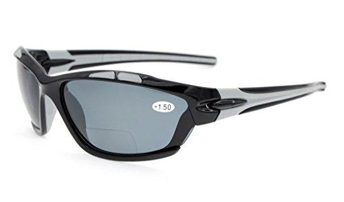Eyekepper TR90 Sports Gafas de sol bifocales Béisbol Running Fishing Conducción Golf Softball Senderismo negro lentes gris +3.0