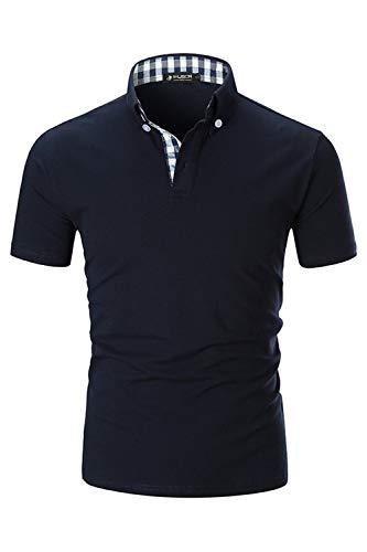 Kuson Herren Poloshirt Kurzarm Sommer T-Shirt Men's Polo Shirt Baumwolle mit Kariert Polokragen Navyblau 3XL
