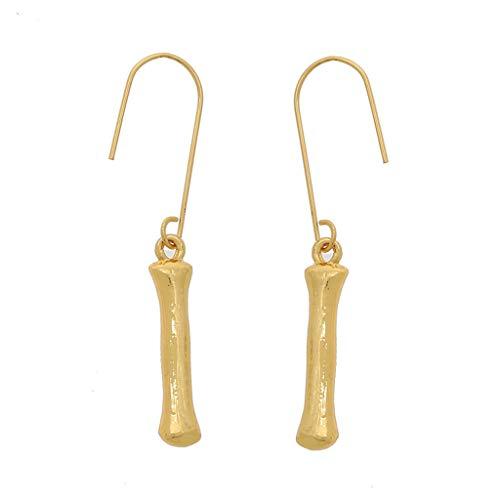 Kofun Ohrringe, 26 Buchstaben Name Anhänger Gold Bambus Erste Tropfen Baumeln Ohrringe Schmuck I#