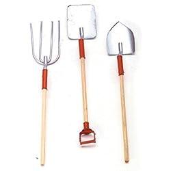 Rastrillos y Palas Para Casa de Muñeca Accesorios en Rojo para el Jardín 1034