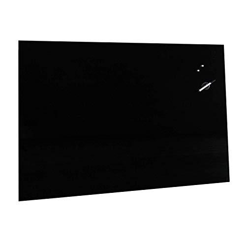 VISCOM Memoboard Glas 90 x 60 cm, Verschiedene Farben Größen wählbar, Magnettafel, Magnetboard, Magnetisch, Schwarz (Inkl. 5 starke Neodym Magnete)